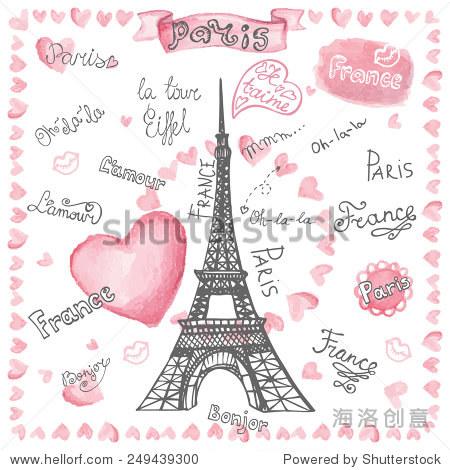 巴黎埃菲尔铁塔,刻字,心.手绘涂鸦粗略