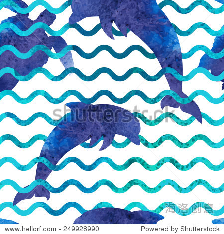 无缝模式与水彩轮廓的海豚,海龟和海浪.