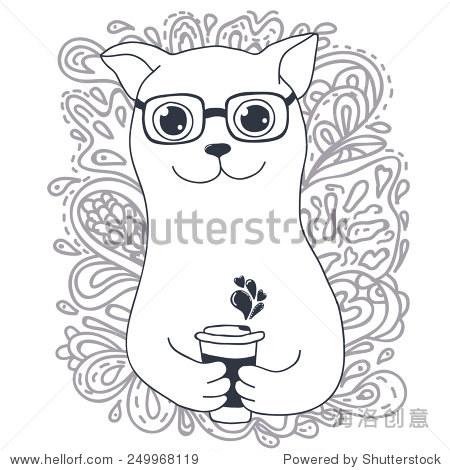 可爱的卡通涂鸦猫与潮人杯,咖啡杯,伟大的t恤设计等