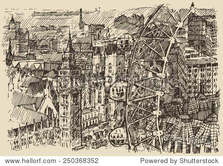 伦敦(英国)古典雕刻插图,手绘
