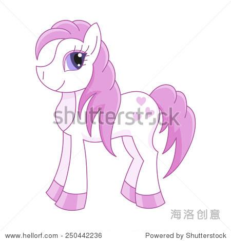 矢量插图可爱的马,浪漫的小马的鬃毛和尾巴