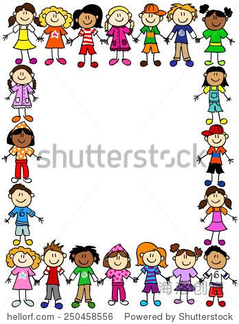 框架或页面边界的可爱孩子卡通人物握手