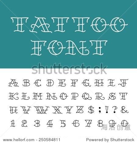 字母-纹身矢量字体.输入字母,数字和标点符号在传统的图片