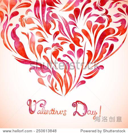 手工制作水彩的字体设计的心,情人节贺卡,邀请.矢量插图eps 10