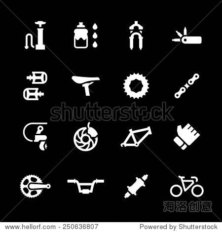 设置图标的自行车零件及配件孤立在黑色.矢量图