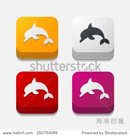 方形按钮:海豚-动物/野生生物,符号/标志-海洛创意,,.