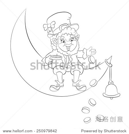 Leprechaun sitting on the moon and scatters coins from the pot. Coloring book.