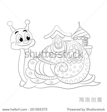 卡通有趣的蜗牛的房子. - 动物/野生生物,物