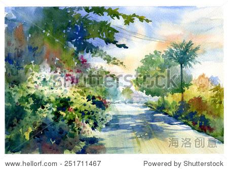 水彩画秋天的风景美丽的道路与颜色的树