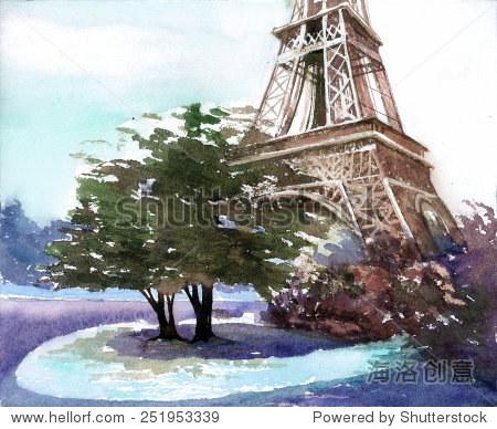 美丽的巴黎埃菲尔铁塔法国风景水彩画手绘海报作品背景彩色丙烯酸艺术