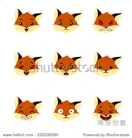 可爱的狐狸情绪平图标集. - 动物/野生生物,物体
