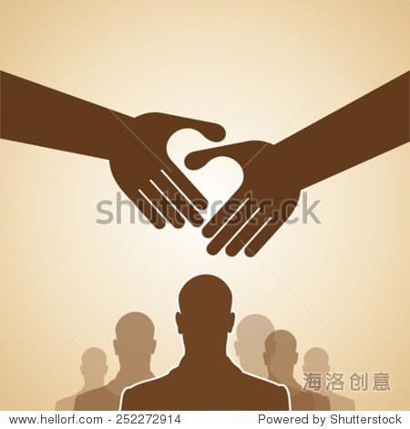 握手,团队合作的手的标志.矢量插图.