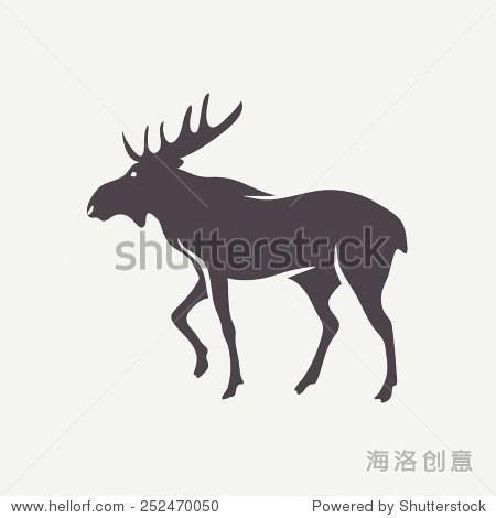 麋鹿的象征.向量动物剪影