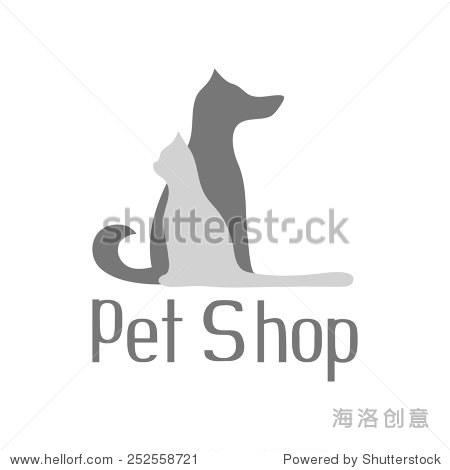 猫狗宠物店签约标志孤立在白色背景,矢量插图