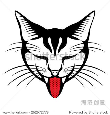 矢量图的猫头伸出舌头