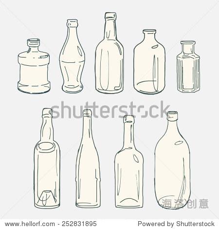收藏的古董玻璃瓶手绘草图