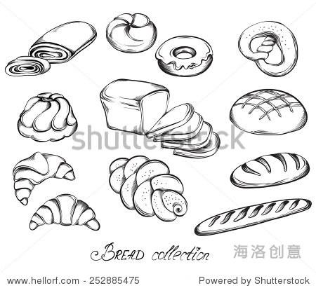手绘草图的面包和馒头在艺术线条.矢量图的面包店在黑色和白色.