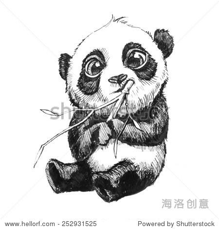 可爱的可爱的熊猫宝宝熊插图,手绘草图的熊猫吃竹子,孤立在白色背景