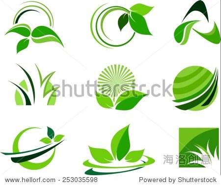 green leafs design elements. leaf logo design elements.图片