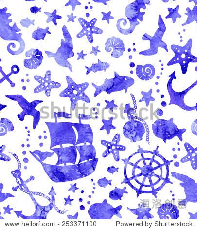 无缝模式与海洋生活.水彩手绘背景.