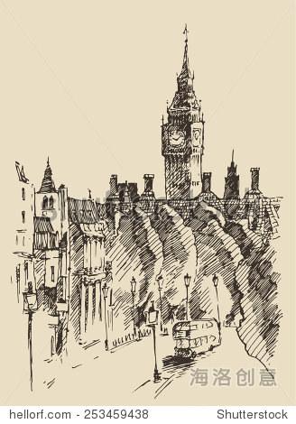伦敦(英国)的雕刻说明,手绘草图