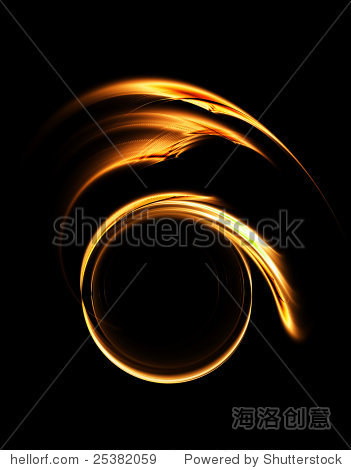 golden circular abstract motion on black background