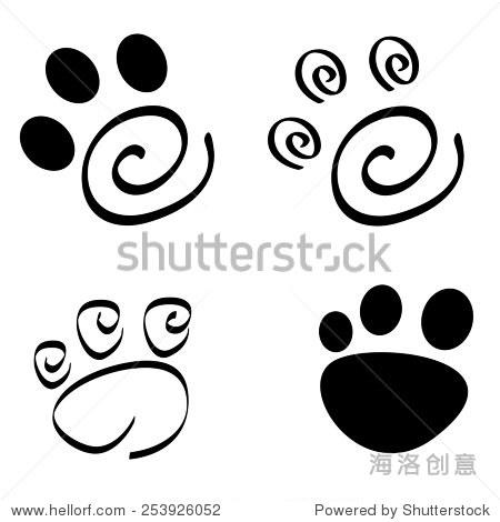 收藏的艺术狗/猫爪印孤立在白色背景 - 符号/标志