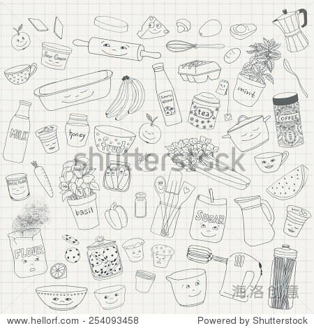 手绘的食物和厨房用具