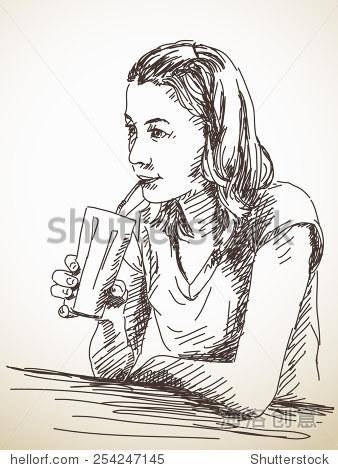 草图手绘插图喝酒的女人