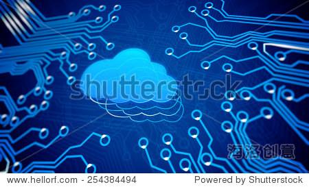 云计算概念:电路板与云. - 科技,符号/标志 - 站酷,,.