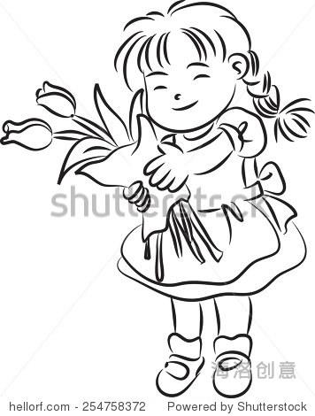 女孩拿着郁金香