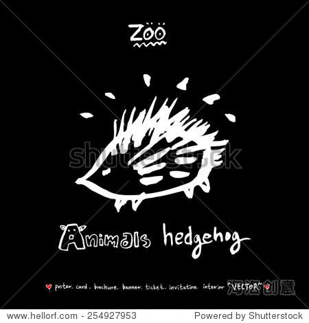 手绘插图动物园动物素描——向量