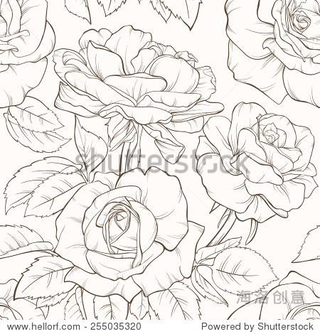 复古花纹无缝图案与手绘的月季花.设计元素.手绘轮廓.