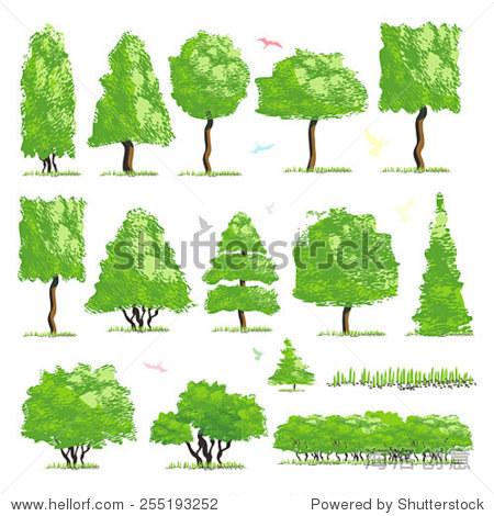 树木景观设计项目顶视图,矢量图标