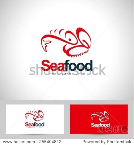 海鲜餐厅标志设计.创意标志概念与名片模板.