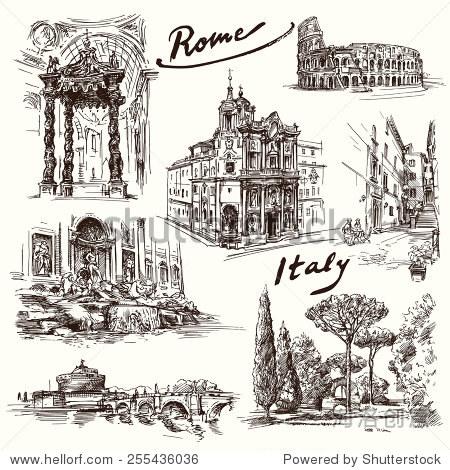 罗马-手绘集合 - 建筑物/地标,背景/素材 - 站酷海洛