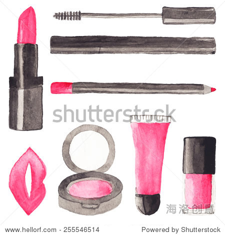 Make up stuff. Set of watercolor beauty items on the white background, aquarelle.  Vector illustration. Hand-drawn original cosmetics background. Useful for invitations, scrapbooking, design.