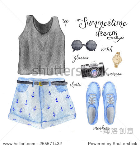 夏季服装的少年.手绘水彩时装插图.