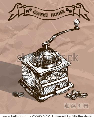 复古手绘磨咖啡机和咖啡豆.素描风格.矢量图