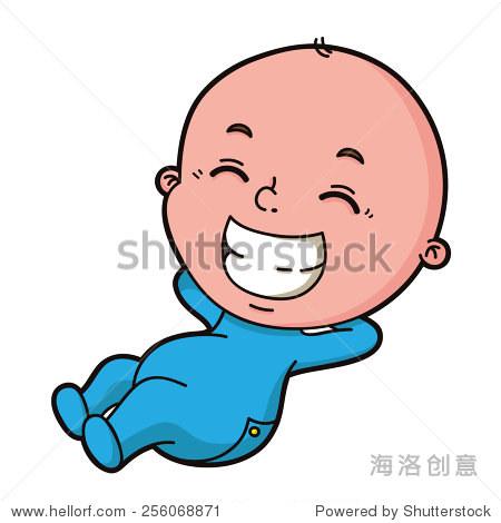 男婴.可爱的卡通小男孩的矢量插图