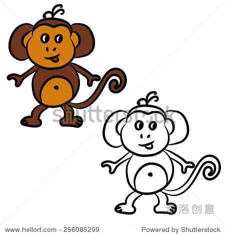 可爱的卡通猴子.彩色的书.矢量图