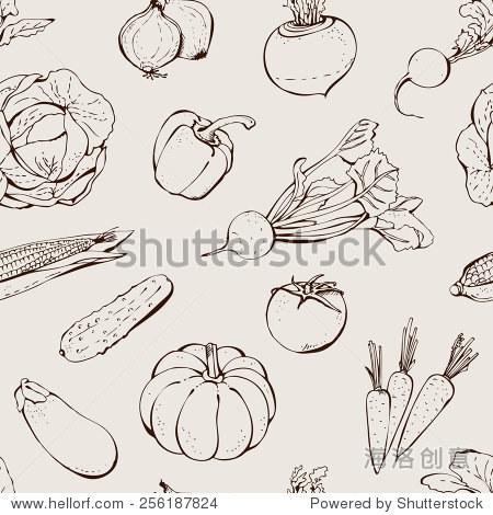 蔬菜手绘图案,无缝背景矢量食物
