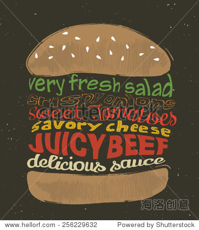 tasty hamburger. vector illustrations.