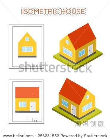 简单的小可爱的等距的房子