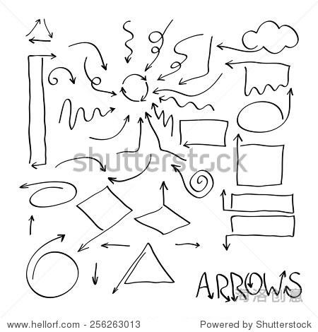 套黑色手绘箭头标志设计元素-符号/标志-海洛创意正版