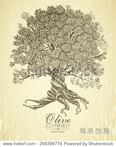 油橄榄树与根粗糙的背景.植树节在复古风格的海报.