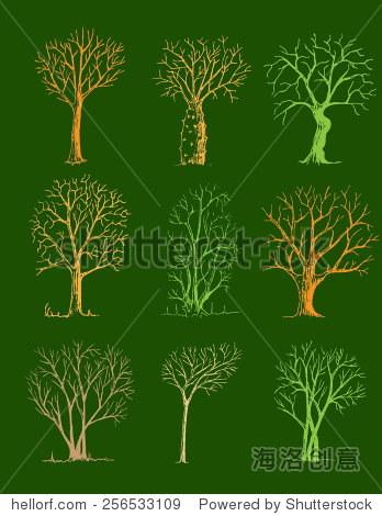 手绘树木孤立,素描,复古风格树绿色背景