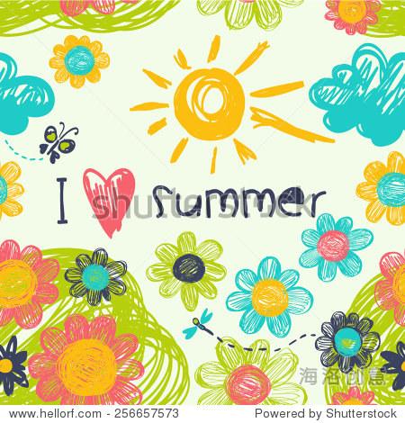 向量背景 我爱夏天 背景 素材,自然 站酷海洛创意正版图片,视频,