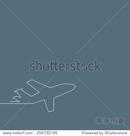 启动的背景.飞机起飞,轮廓矢量插图.