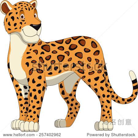大型野生猫科豹走路,现实的矢量图